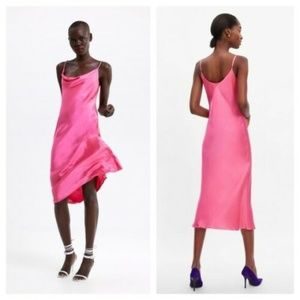 ZARA NWT FUCHSIA PINK SATIN VISCOSE SLIP DRESS
